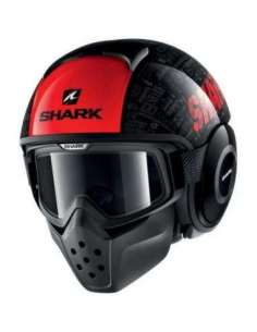 CASCO SHARK DRAK TRIBUTE KRA NEGRO-ROJO S