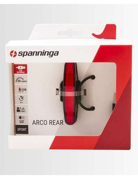 LUZ BICI SPANNINGA TRASERA ARCO BATERIA USB. 30 LUMENS.